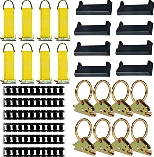 E-Track Tie-Down KIT! 6 Powder-Coated 5' Horizontal E Track Rails, 8 End Caps, 8 Rope Tie-Offs, 8 O Rings | Trailer Accessories, Cargo Securement