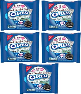 OREO Chocolate Sandwich Cookies, Mint Chocolate Chip Flavor Creme, Baskin Robbins Limited Edition (5 Pack)