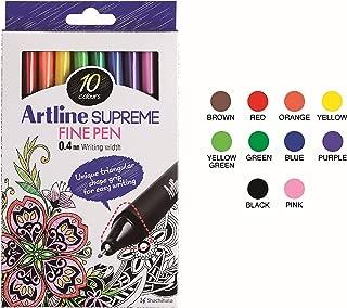 Artline 'Supreme Fine Pen' Fineliner Pens 0.4mm - Bright Vivid Colors For Technical Drawing - Pack 10