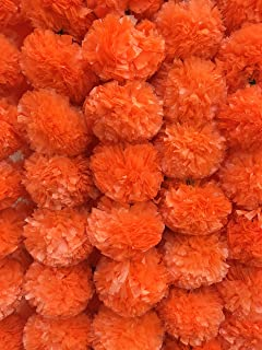 Decoration Craft Pack of 5 Artificial Dark Orange Marigold Flower Garlands 5 Feet Long, for Parties, Indian Weddings, Indian Theme Decorations, Home Decoration, Photo Prop, Diwali, Indian Festival