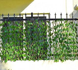 6 قطع من سياج الخيزران مع اوراق نباتات صناعية بتصميم قابل للتمدد للحدائق المنزلية والديكورات الخارجية من ياتاي - خشبي