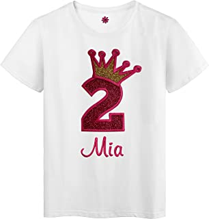 2nd Birthday Personalized Embroidered Glitter Crown Girls T Shirt with Custom Name