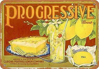 """3 PCS 8"""" x 12"""" Metal Sign - Progressive Lemons - Vintage Look Reproduction"""