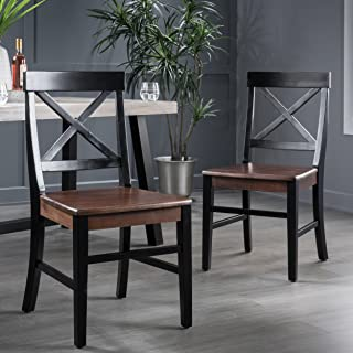 Christopher Knight Home Truda Farmhouse Acacia Wood Dining Chairs Finish Frame, Black/Walnut