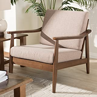 Baxton Studio Upholstered Lounge Chair in Walnut and Light Brown