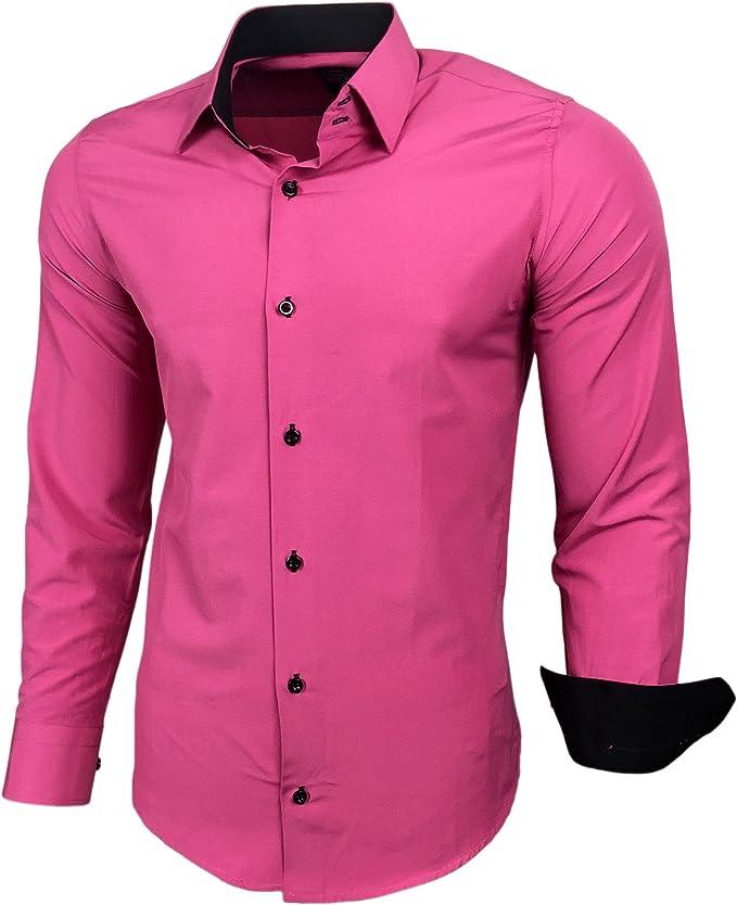 Camisa de manga larga de Baxboy, para hombre, colores de contraste, corte ajustado de negocios, RN-44-2 rosa XXL