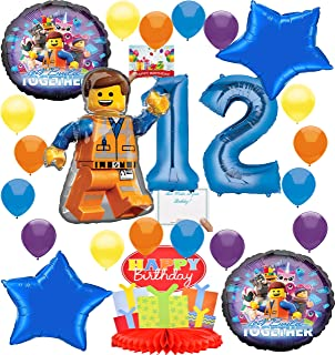 Lego Movie 2 Deluxe Balloon Decoration Bundle for (12th Birthday)