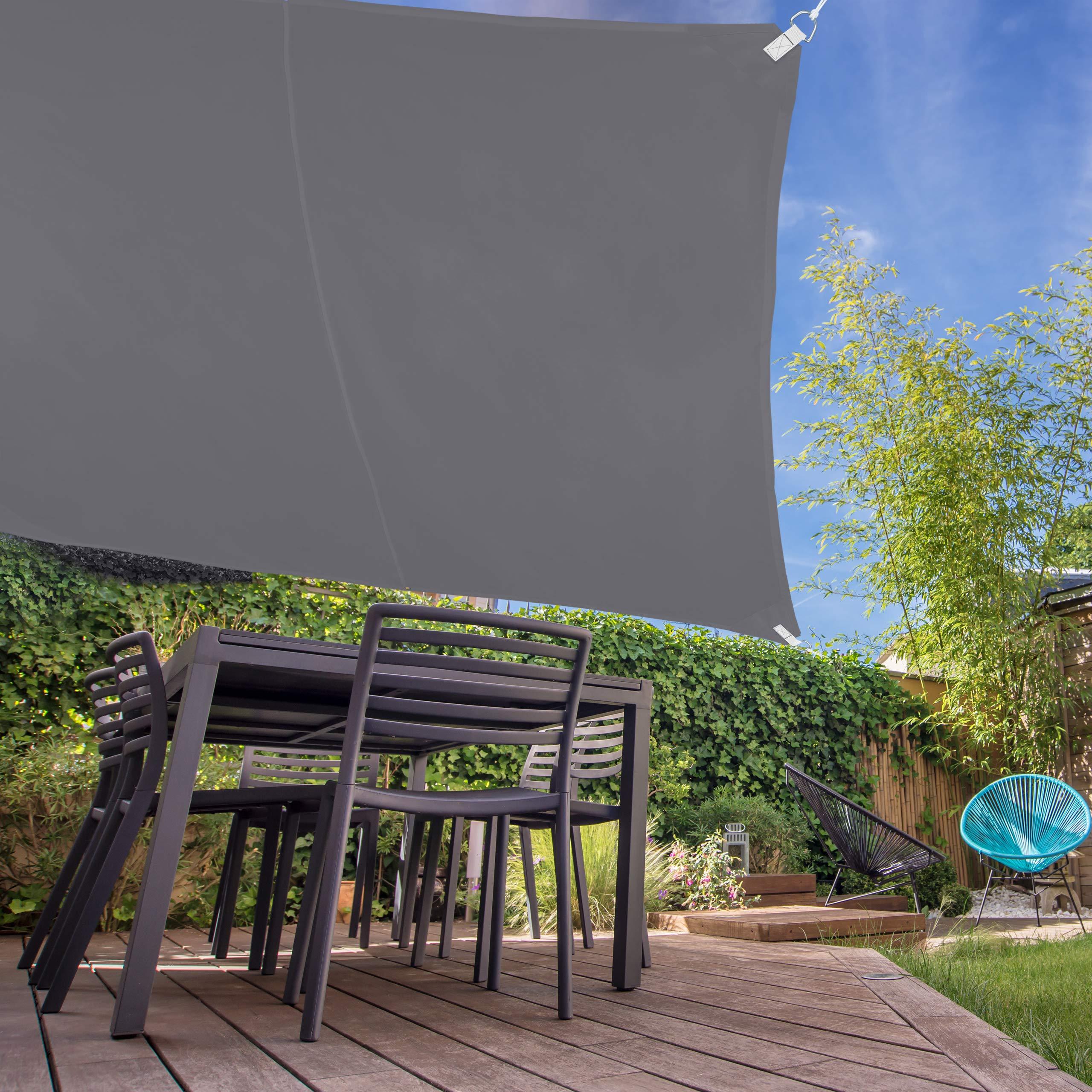 Relaxdays, Gris, Toldo Vela Cuadrado, Impermeable, Protección Rayos UV, con Cuerdas para tensar, 5 x 5 cm: Amazon.es: Jardín