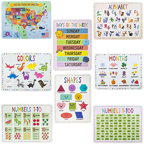 "8-Pack Reversible Classroom Wall Posters 22"" x 17"" - Learn The Alphabet, Colors, Days, Months, Numbers, Shapes, USA Map by Pint-Size Scholars"