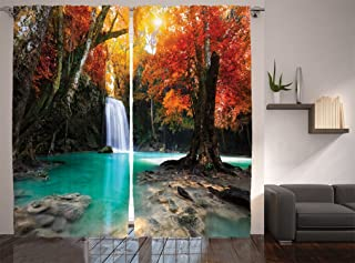 Ambesonne Waterfall Decor Collection, Deep Forest Waterfall Runoff Autumn Forest Image Pattern, Window Treatments, Living Room Bedroom Curtain 2 Panels Set, 108 X 84 Inches, Paprika Turquoise Ivory