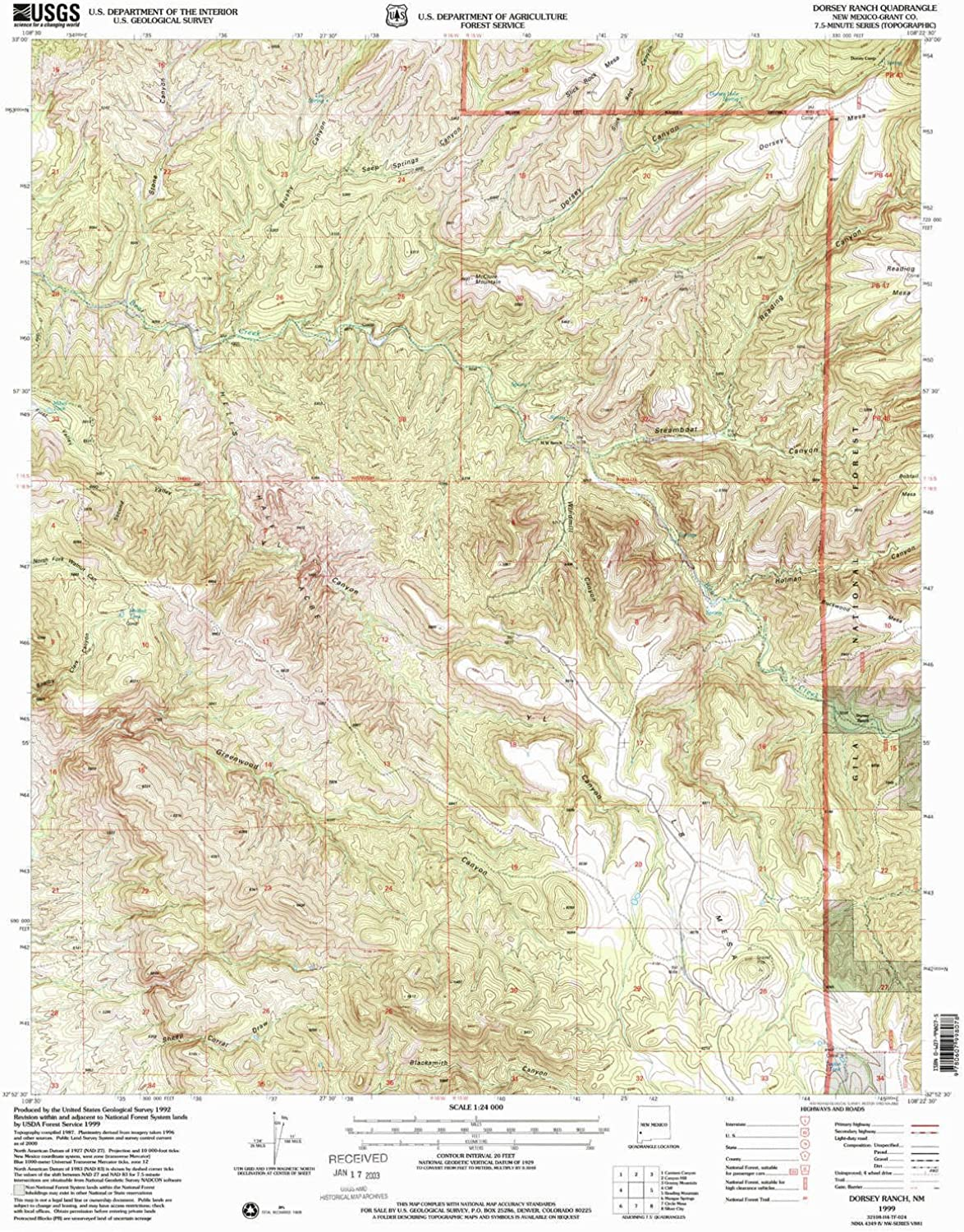 Dorsey Ranch NM topo map, 1 24000 Scale, 7.5 X 7.5 Minute, Historical, 1999, Updated 2002, 26.8 x 22 in