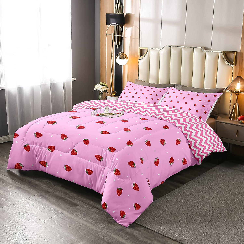 Kawaii 正規取扱店 Strawberry Comforter 激安価格と即納で通信販売 Set Bedding Str Pink