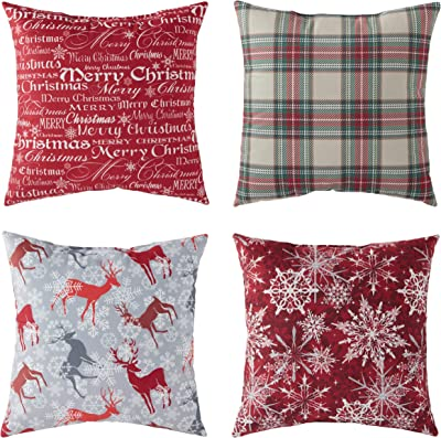 """South Pine Porch Assorted Prints Set of 4 Square 18""""x18"""" Holiday Throw Pillows, Multi"""