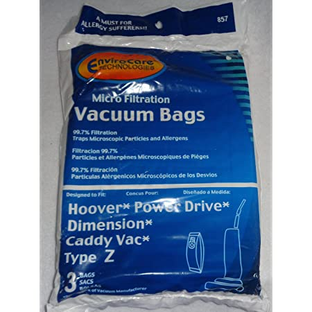 Hoover Type Z Vacuum Bags Micro Lined Allergen Power Drive Auto Drive Dimension