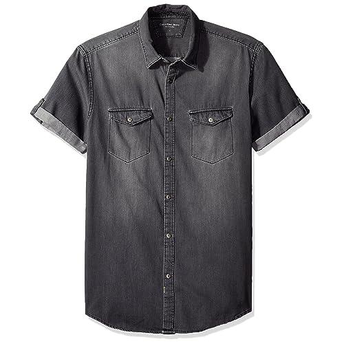 c16e51deea Calvin Klein Jeans Men s Short Sleeve Denim Button Down Shirt