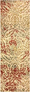 Superior Ophelia Collection Area Rug, Vintage Ikat Damask Pattern, 10mm Pile Height with Jute Backing, Affordable Contemporary Rugs - Cream, 2'7