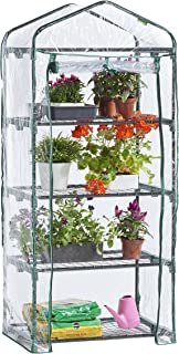 VonHaus VD-2664GT 63 x 28 x 20 inches 4 Tier Portable Mini Compact Greenhouse with Clear PVC Cover-Unit: 6, Translucent