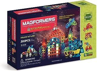 Magformers Deluxe S.T.E.A.M Basic Set (200-pieces) Magnetic Building Blocks, Educational Magnetic Tiles Kit , Magnetic Construction STEM Set