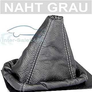 GEAR GAITER GREY LEATHER BLACK STITCHING