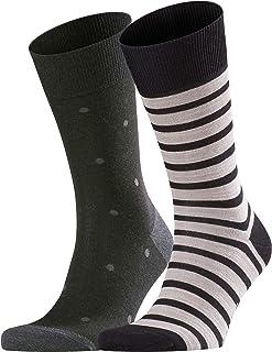 Even Stripe & Dot Pack of 2 Calcetines, Multicolor (Black 3000), 47/50 (Pack de 2) para Hombre