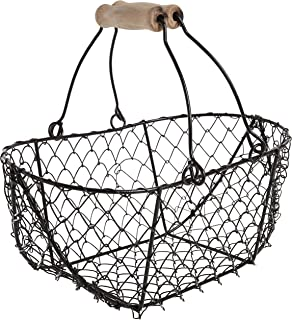 """10"""" Oval Wire Basket with Wooden Handles - Vintage Style - by Trademark Innovations"""