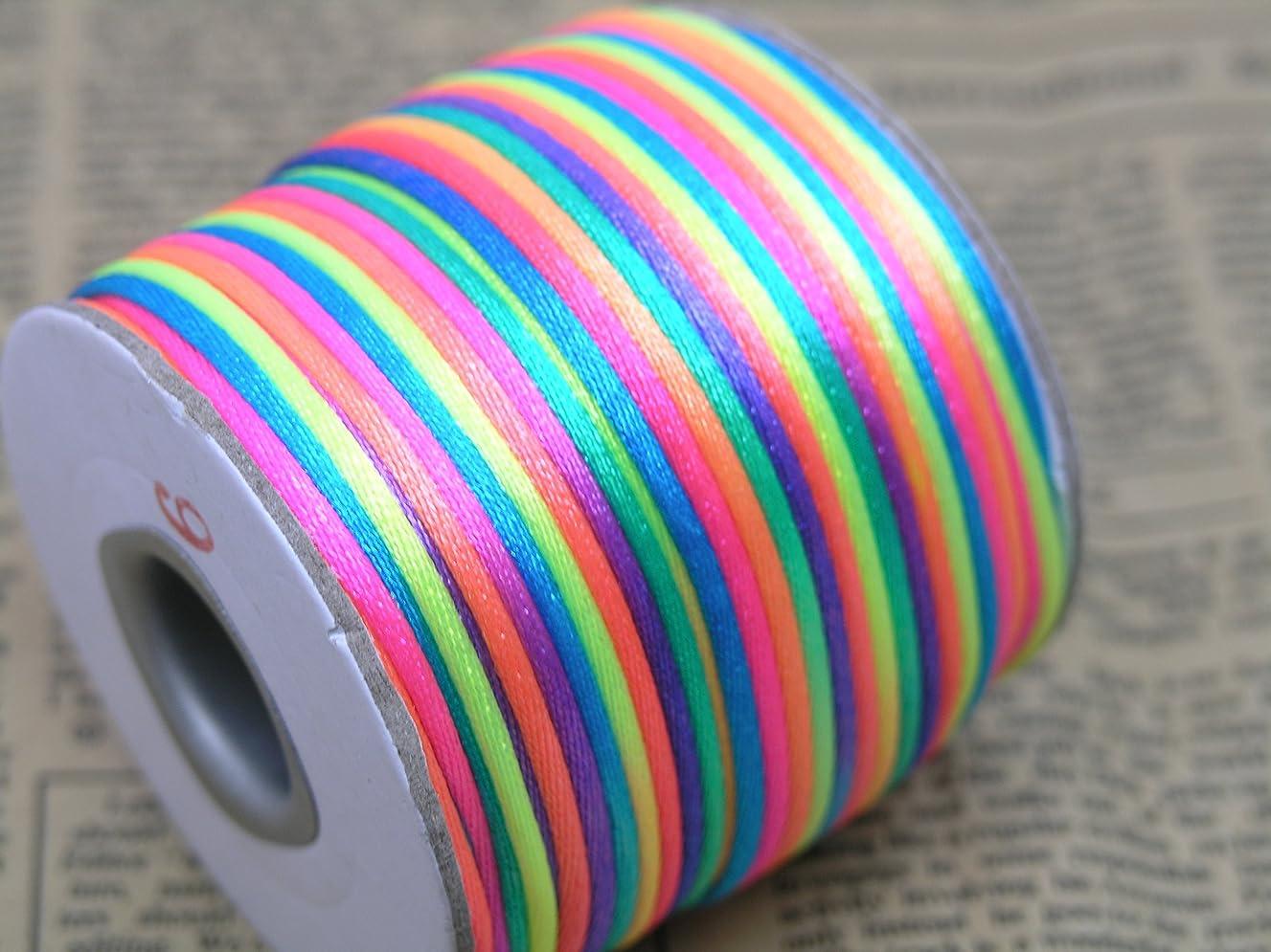 KONMAY 50 Yards 2.0MM Rattail/Bugtail Satin Silk Cord Shamballa Macrame Beading Nylon Kumihimo String (Rainbow RB)