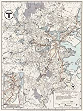 Historic Pictoric Map - Greater Boston Transit Maps, Boston MBTA System Route Map 1966 Railroad Cartography - Vintage Poster Art Reproduction - 24in x 18in