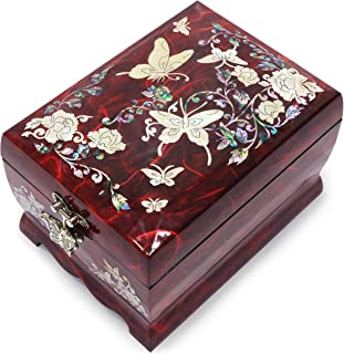 Hand Made Jewelry Music Box Ring Organizer Mother of Pearl Sea Shell Inlaid Mirror Lid 2 Level Butterflies Floral Design Red