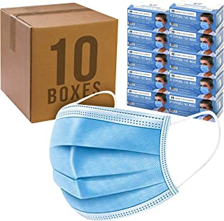 Salon World Safety Masks - Bulk 10 Boxes (500 Masks) in Sealed Dispenser Boxes of 50-3 Layer Disposable Protective Face Masks with Nose Clip & Ear Loops - Sanitary 3-Ply Non-Woven Fabric – Particle