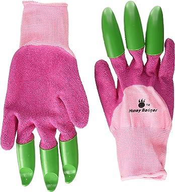 """Honey Badger Garden Gloves 10105-SZ6+7-N-PNK-LR Test Garden Genie, Women's Small/Medium -Size 6"""" to 7"""", Pink/Green"""