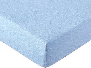 AmazonBasics - Sábana bajera ajustable, tejido jersey jaspeado - Azul claro - 135 x 190 x 30 cm