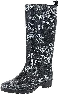 Capelli New York Ladies Shiny Leopard Print Tall Rain Boot