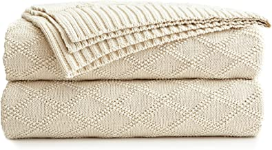 Longhui bedding Large Cream Cotton Knit Throw Blanket for Couch Sofa Bed - Home Decorative Soft Cozy Sweater Woven Fall Cable Oversize Knitted Blankets - 3.4 pounds 60 x 80 Inch
