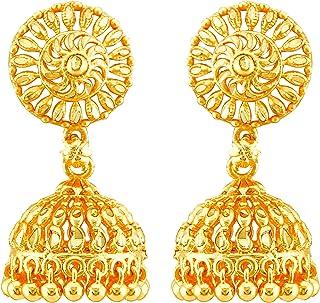 MEENAZ Traditional Temple Jewellery 1 One Gram Gold 18k Ethnic Copper Brass Metal South Indian Meenakari Screw Back Studs ...