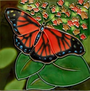 Butterfly Ceramic Art Tile 8 x 8 inches with Easel Back