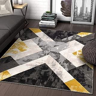 Well Woven Rheta Gold Modern Geometric Stripes & Angles Pattern Area Rug 8x10 (7'10