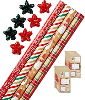 American Greetings Christmas Wrapping Paper Kit with Gridlines, Bows and Gift Tags, Red and Green, Stripes, Plaid and Snowmen (41-Count, 120 sq. ft.)
