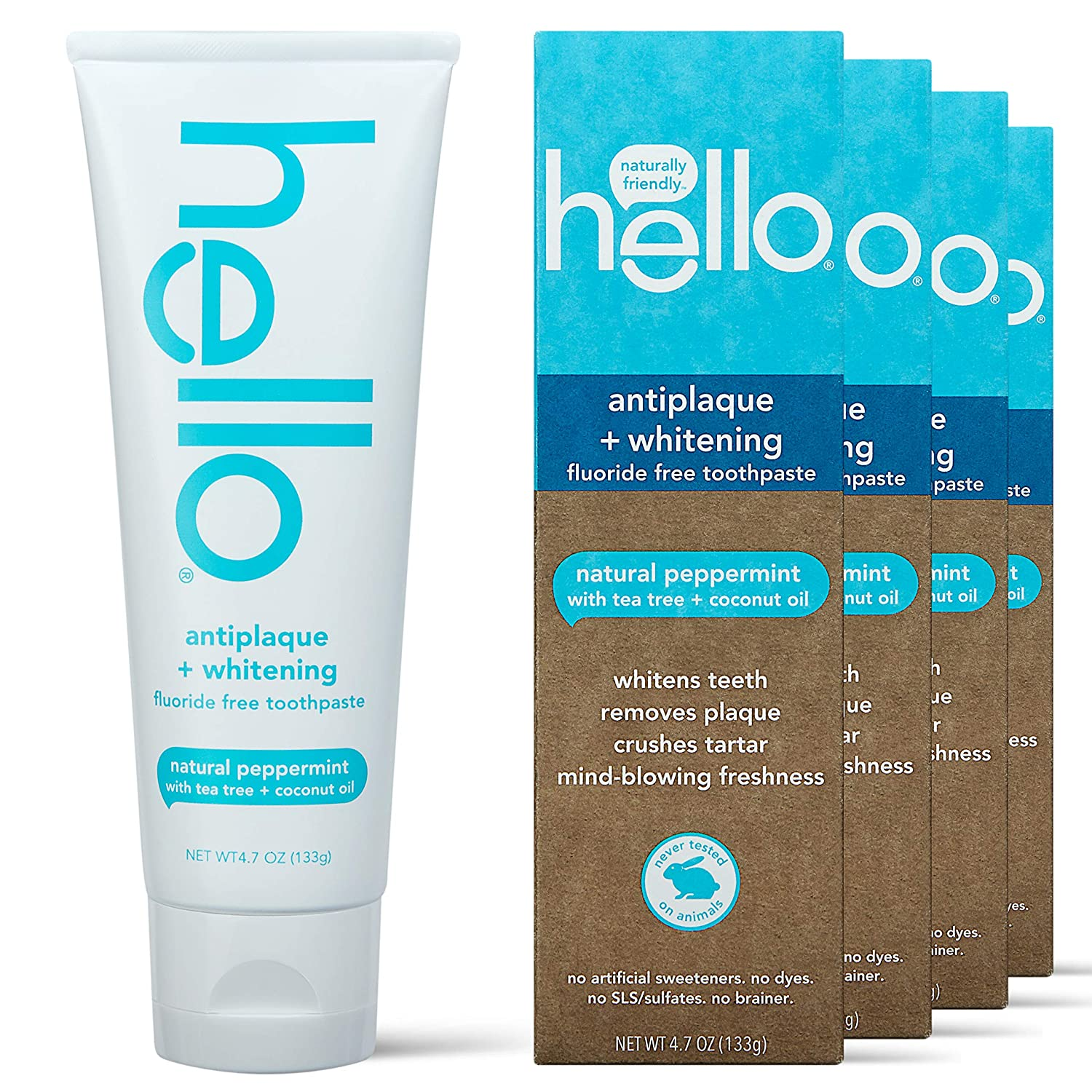 Hello Antiplaque and Whitening Toothpaste Fluoride Raleigh Mall Max 90% OFF Natural Free