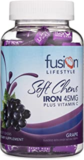 Fusion Lifestyle Iron Supplement for Women and Men, Grape Flavored Iron Soft Chew Plus Vitamin C for Iron Deficiency and A...