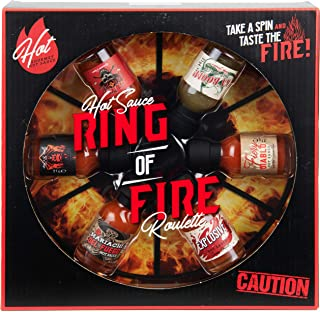 Modern Gourmet Foods, Ring of Fire Game Hot Sauce Gift Set, Flavours Include Inferno, Ka Boom, Blaze and More, Pack of 6