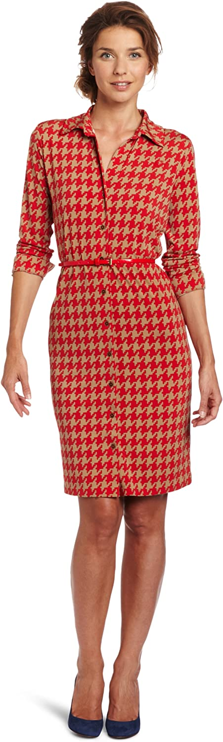 Anne Klein Women's Houndstooth Printed Polo Dress