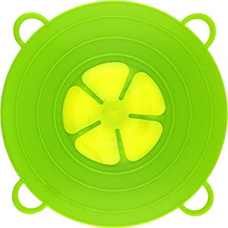 Spill Stopper Lid Pan and Pot Prevent Messy Spillovers 11.5 inch - Multifunction Silicone Kitchen Cooking Lid and Cover Crockpot- Cookware Parts Flower- Made of FDA Food Grade Silicone