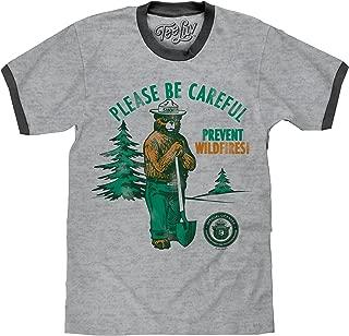 Smokey Bear T-Shirt - Retro Smokey Prevent Wildfires Ringer Shirt