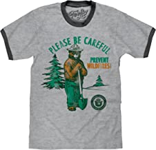 Smokey Bear T-Shirt - Retro Smokey Prevent Wildfires Ringer Shirt