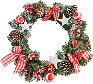 Home-X Front Door Christmas Wreath with Stars, Frosted Pinecones, for Home Wall, Window, Staircase, Door Décor, Outdoor Wi...