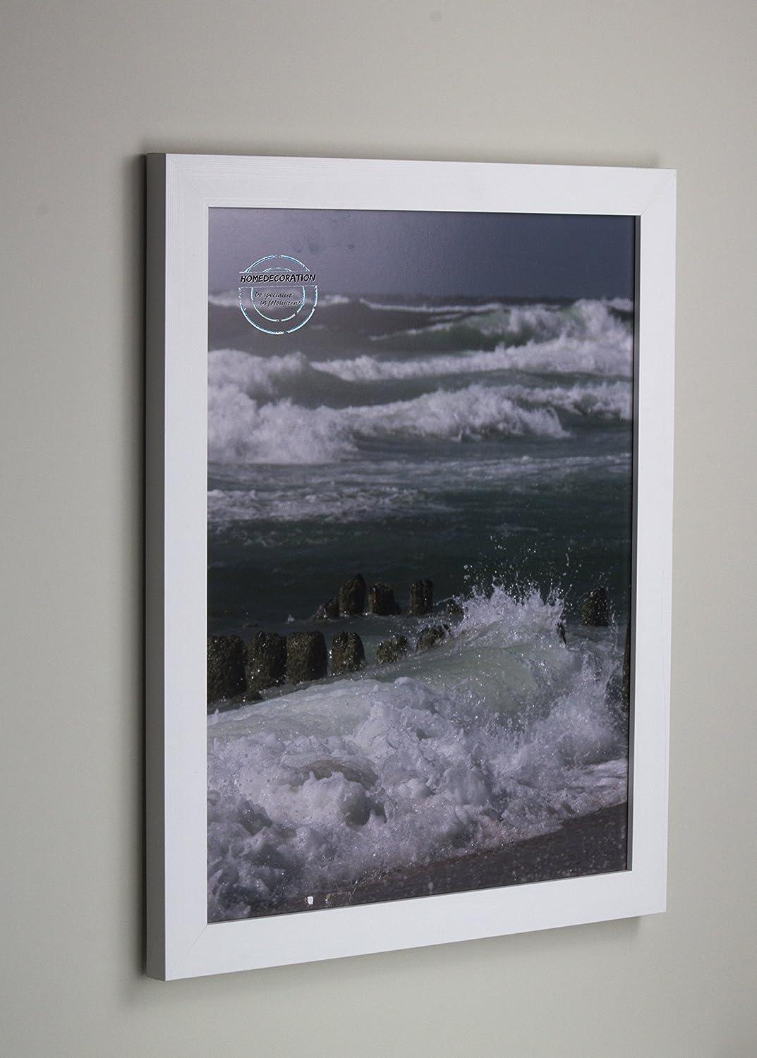 Marco Kiruna 20 x 120 cm MDF, marco estable en el estilo Bauhaus 120 x 20cm, Color seleccionado  blancoo veteado con vidrio acrílico projoector antirreflector 2mm