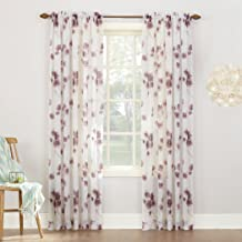 "No. 918 Kiki Floral Print Crushed Sheer Voile Rod Pocket Curtain Panel, 51"" x 95"", Lavender"