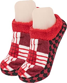 Neska Moda Women's Maroon Cotton Checkered Booties Cum Indoor Slippers