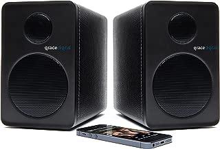 Grace Digital GDI-BTSP201 aptX Powered Bookshelf Bluetooth Speakers (Set of 2, Black)