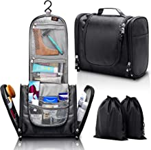 ELV Hanging Toiletry Bag - Large Travel Cosmetic Storage Organizer, Men & Women, for Makeup, Toiletries, Hygiene Accessories, Shaving Kit, Clippers, Grooming Tools - Bathroom and Shower